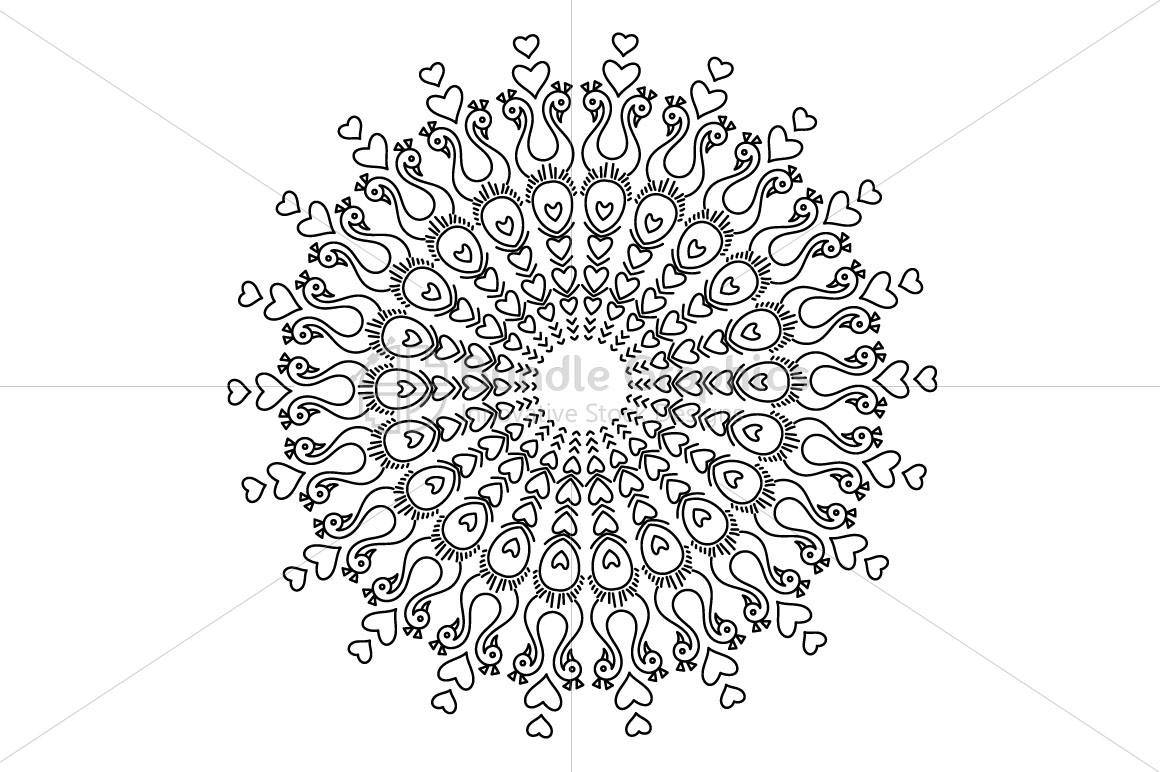 Peacock Birds - Linear Art Mandala Graphics example image 2