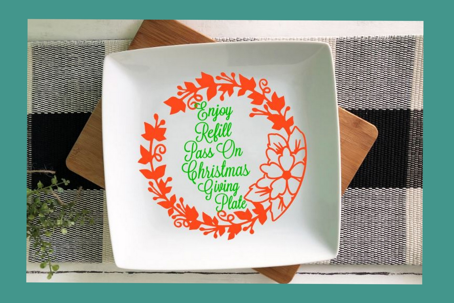 SVG Cut File Christmas Giving Plate Design #08 example image 2