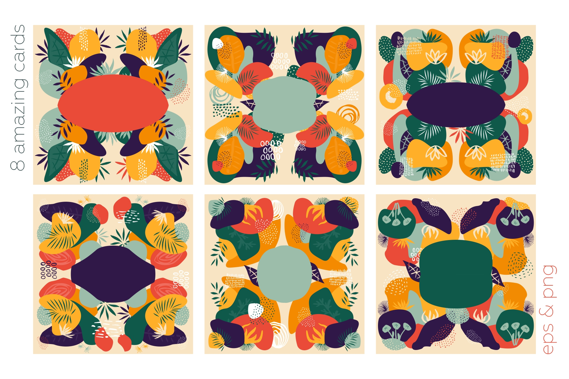 Floralium. Abstract botanical patterns set. example image 8