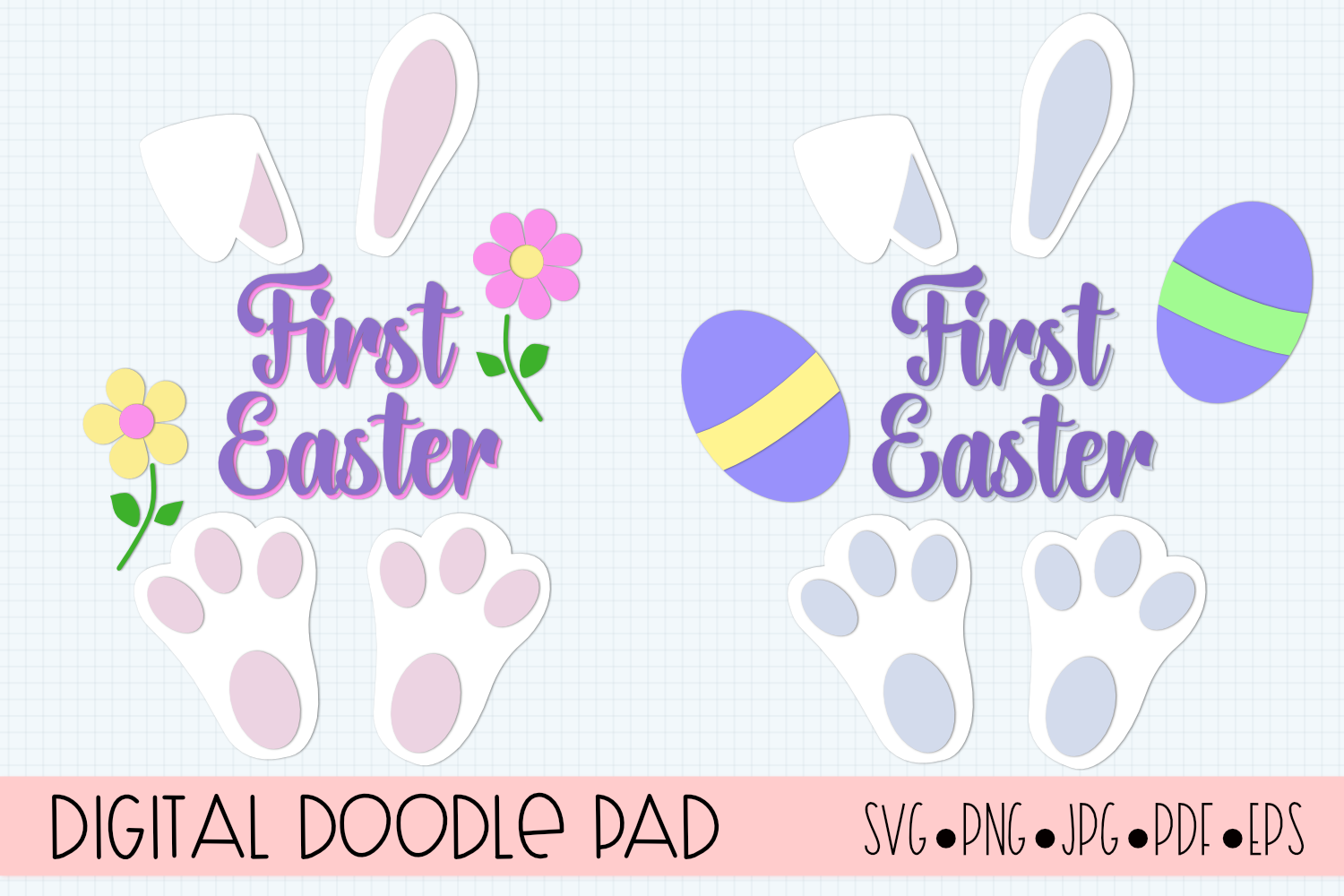 Easter Bunny First Easter SVG by Digital Doodle Pad example image 2