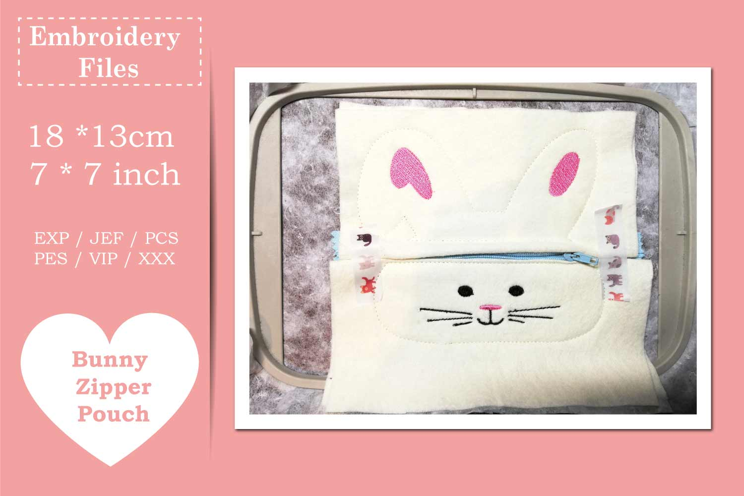 Zippered Easter Bunny Pouch - ITH Embroidery File example image 3