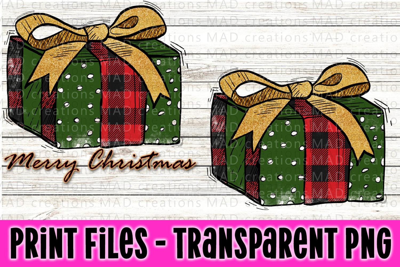 Christmas Present - Buffalo Plaid and Green - Print File example image 1