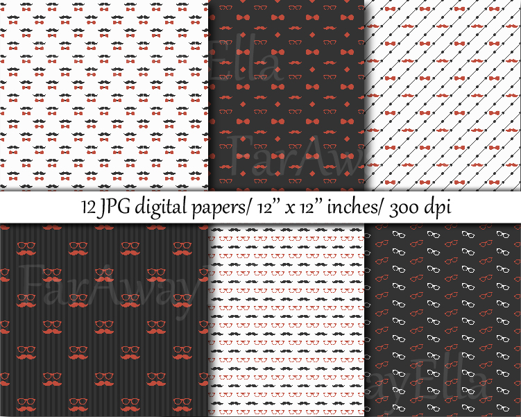 Gray and orange hipster digital paper example image 3