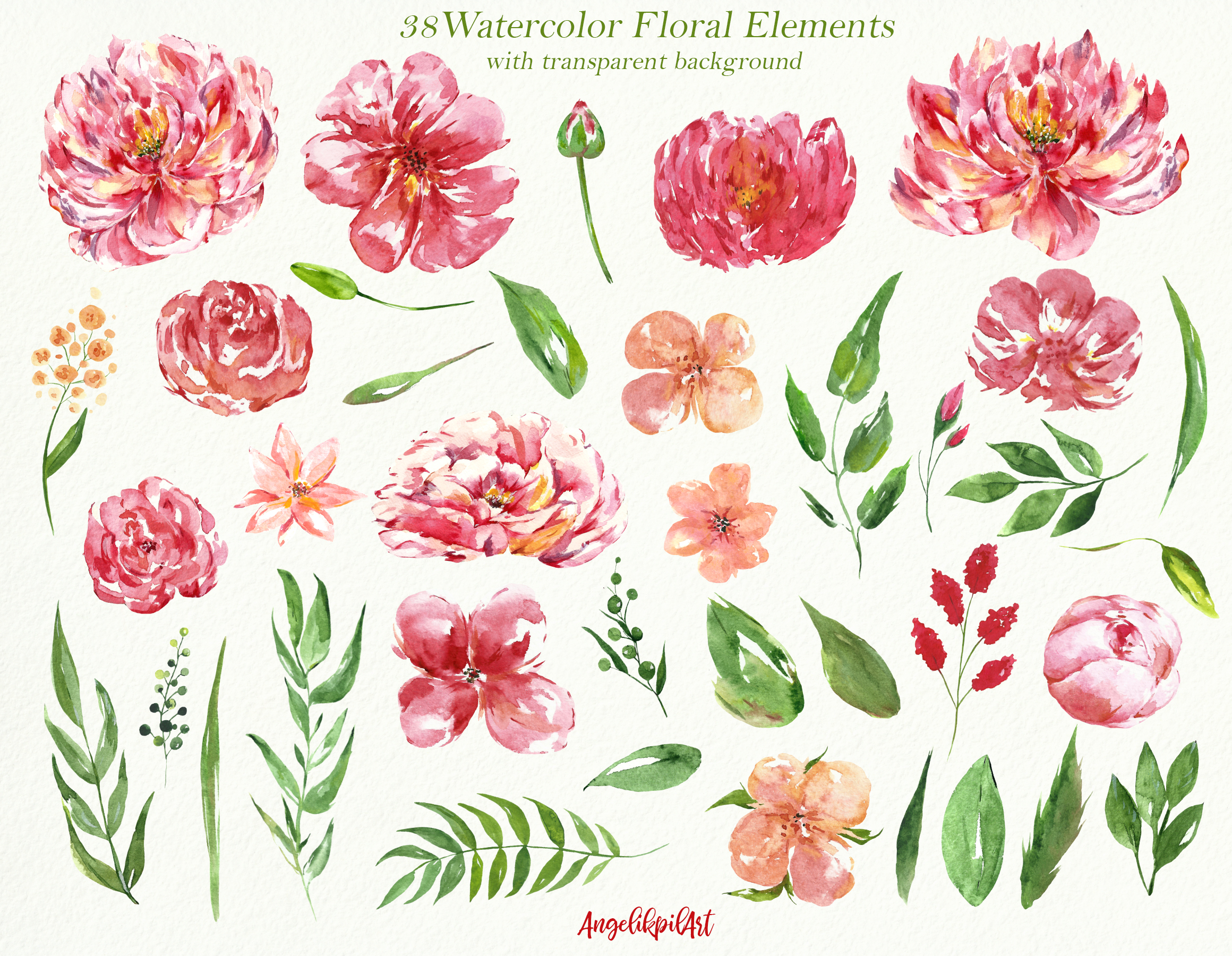 Watercolor pink flowers Clip Art example image 2