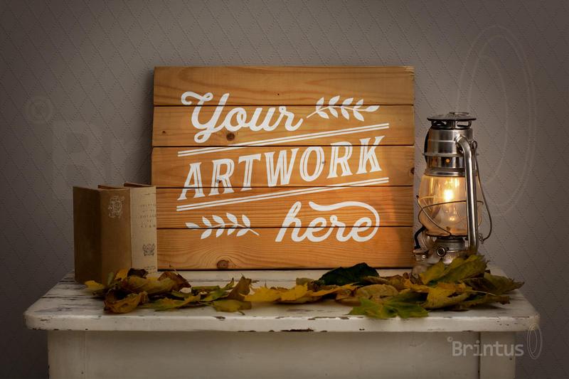 Woodsign mockup - romantic autumn interior example image 4