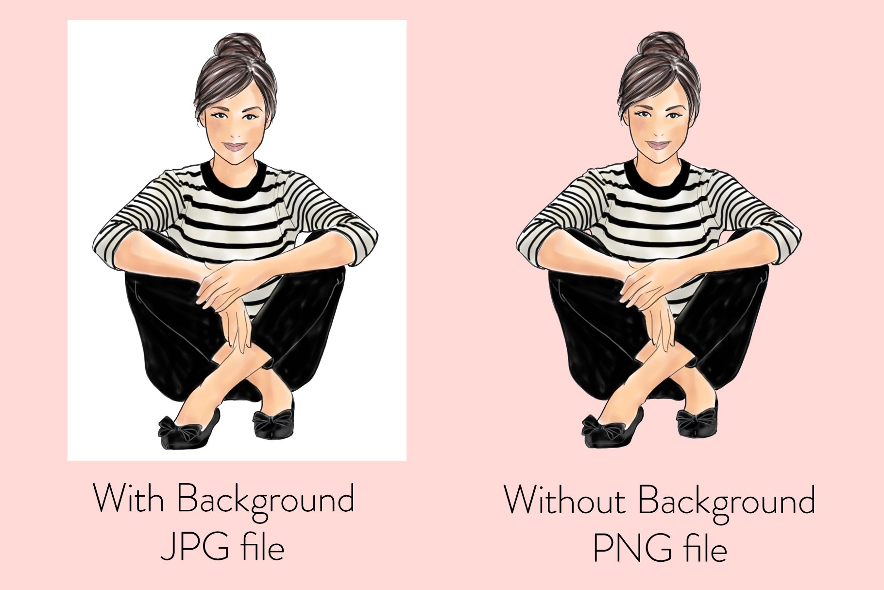 Fashion illustration - Girls in striped T - Light Skin example image 2