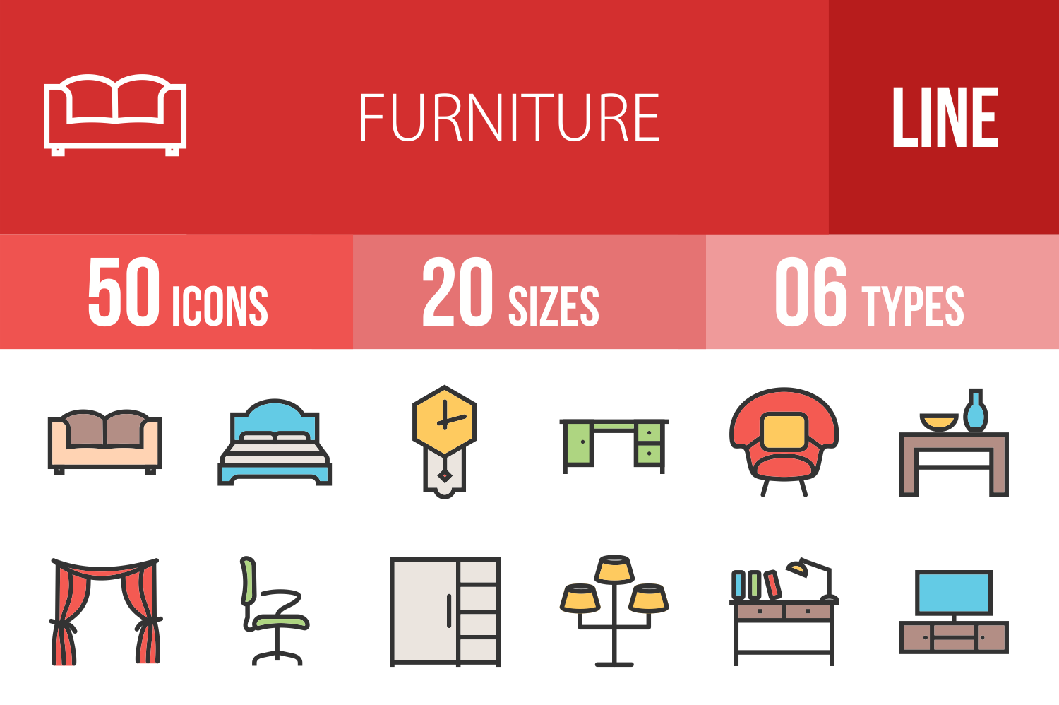 50 Furniture Linear Multicolor Icons example image 1