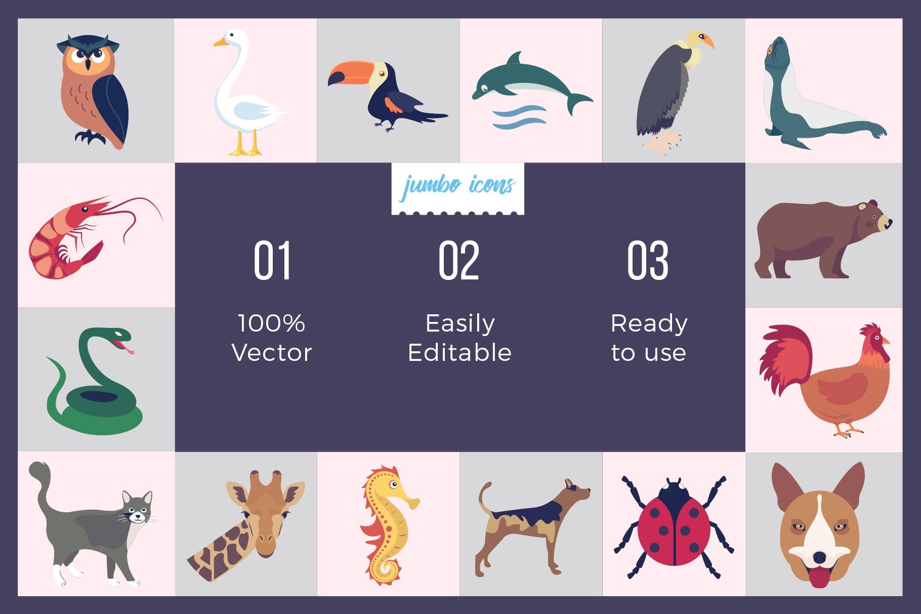 Animals, Birds, Insects Vector Icons example image 2