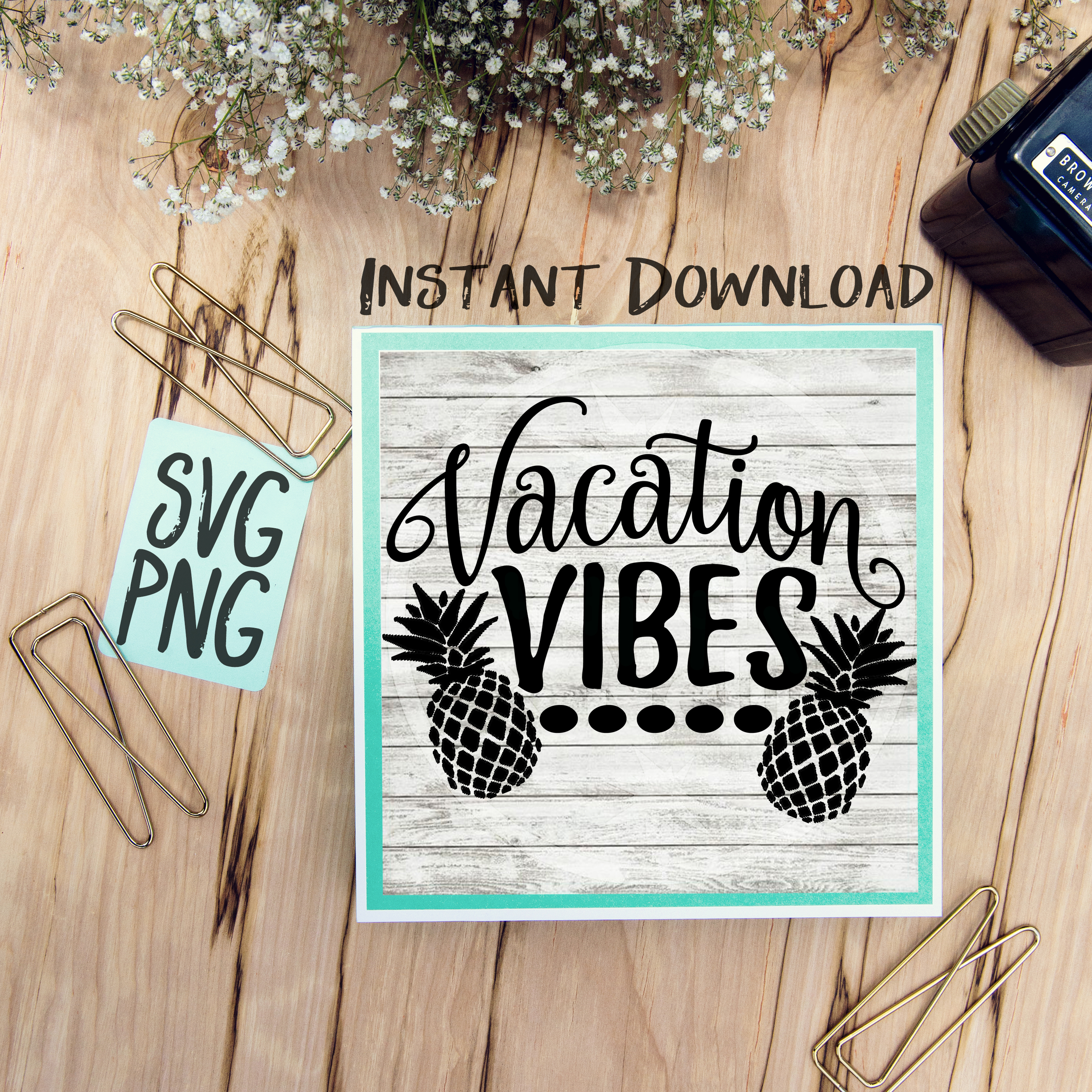 Vacation Vibes SVG Image Design for Vinyl Cutters Print DIY Shirt Design Cruise Vacation Tropical Brother Cricut Cameo Cutout example image 1