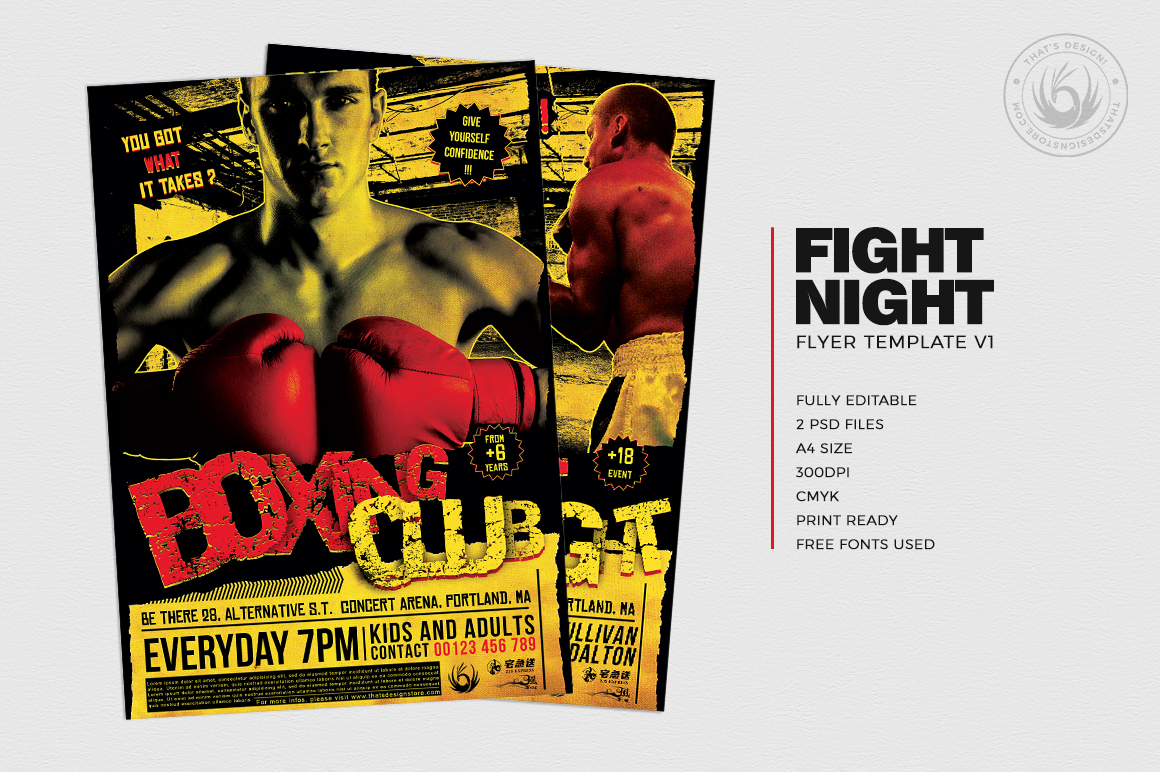 Fight Night Flyer Template V1 example image 2