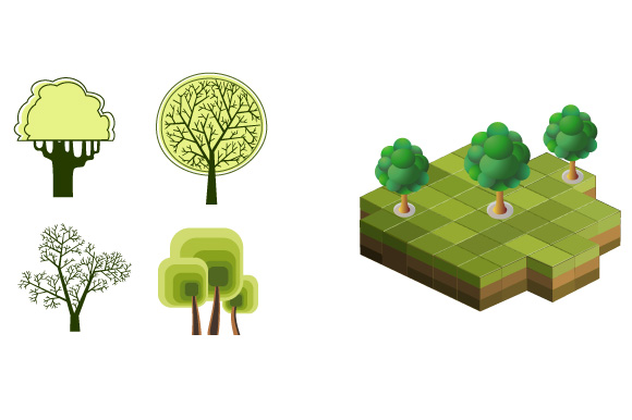 Set of vector images of trees example image 2