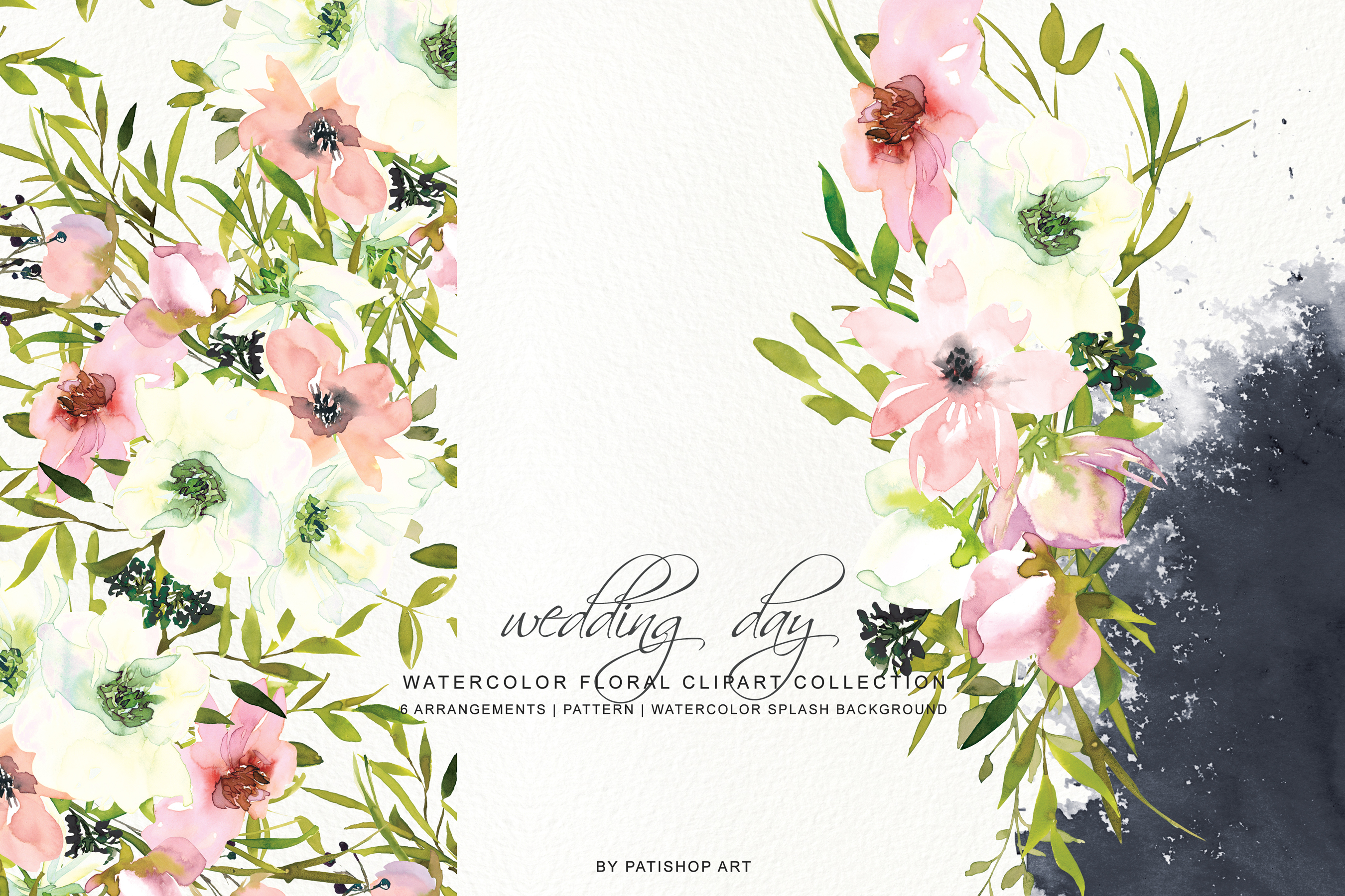 Watercolor Blush and White Florals Clipart Seamless Pattern example image 4