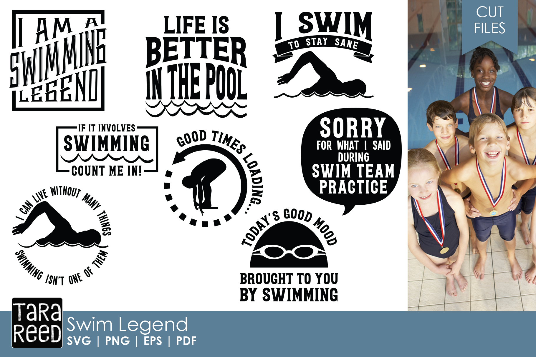 Swim Legend - Swimming SVG and Cut Files for Crafters example image 1