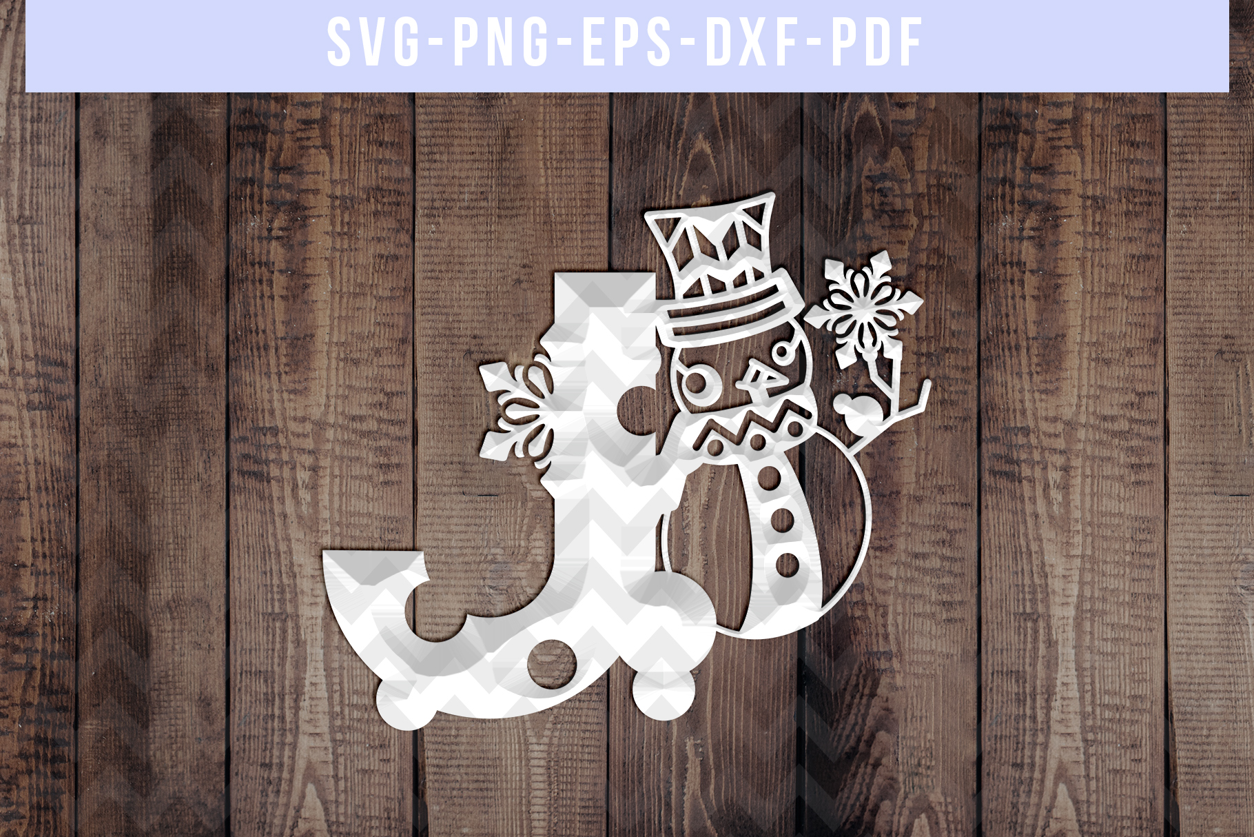 Snowman Font J Paper Cut Template, Winter Cutting SVG, DXF example image 2