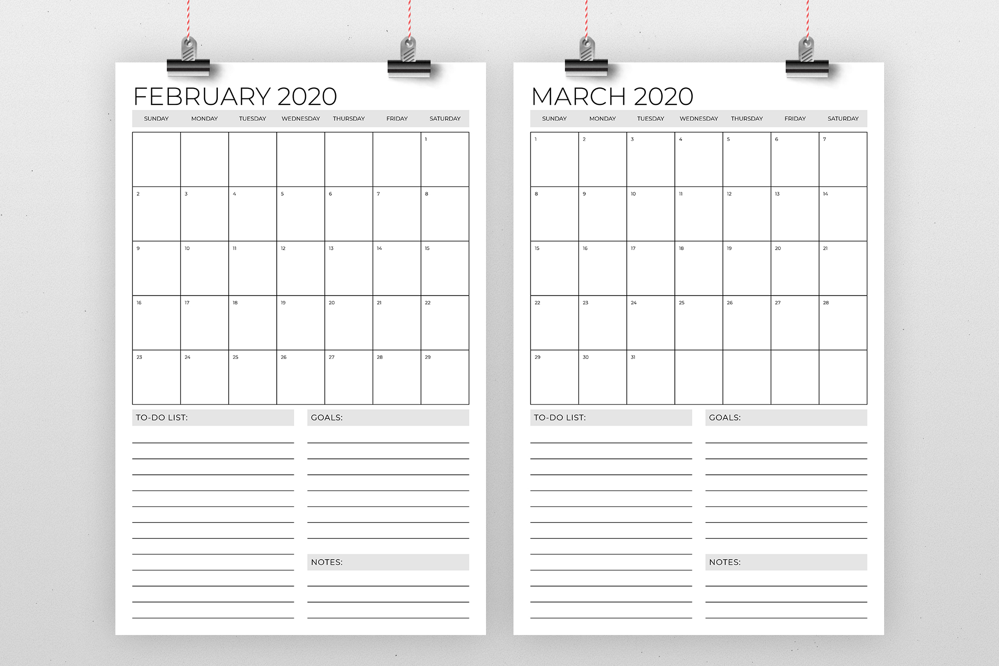 Vertical 11 x 17 Inch 2020 Calendar Template example image 2
