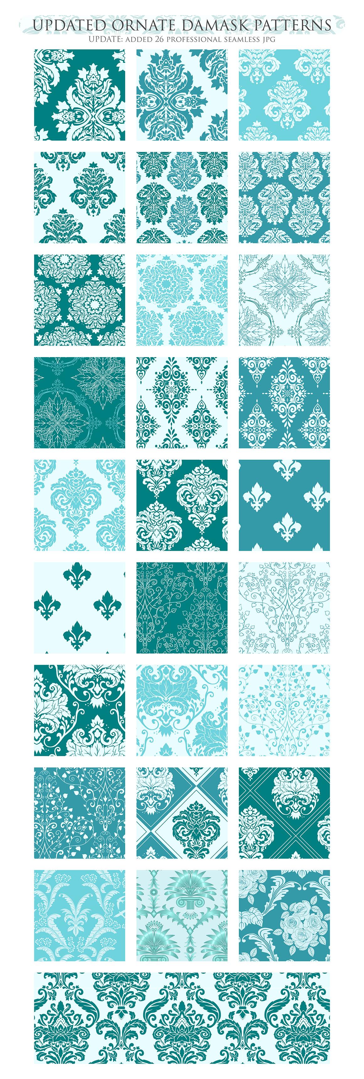 28 Teal Damask Patterns - Seamless Digital Papers Bundle example image 3