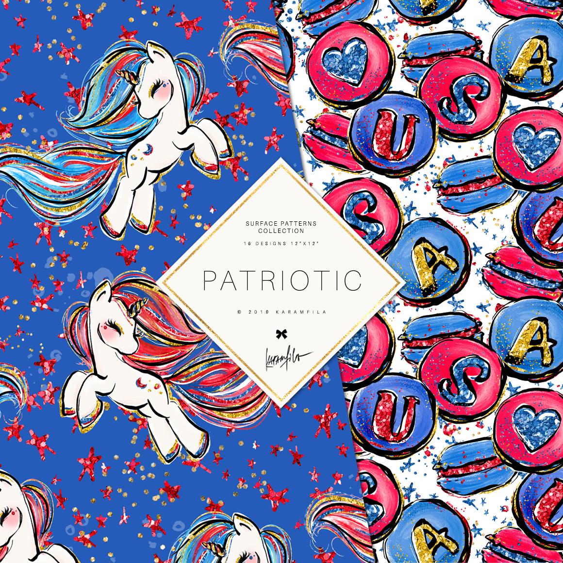 4th of July Mermaid Unicorn Patterns example image 8