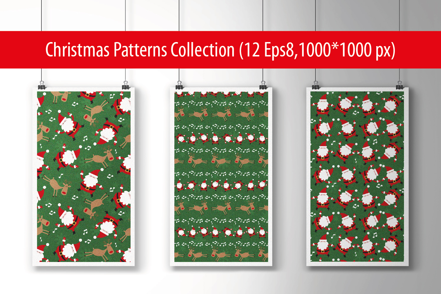 Christmas Patterns Collection. 12 of the jpeg files in resolution 4167*4167 px and 12 files eps8. example image 1