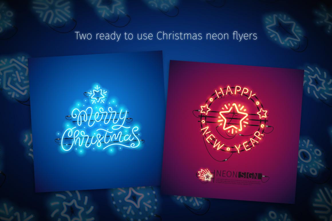Christmas Colorful Neon Snowflakes example image 5