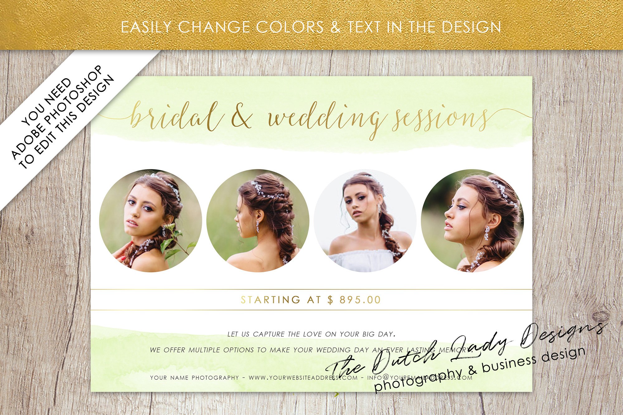 PSD Wedding Photo Session Card Template - Design #34 example image 4