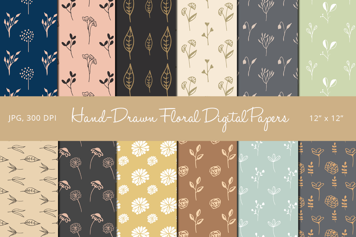 Hand Drawn Floral Digital Papers example image 1