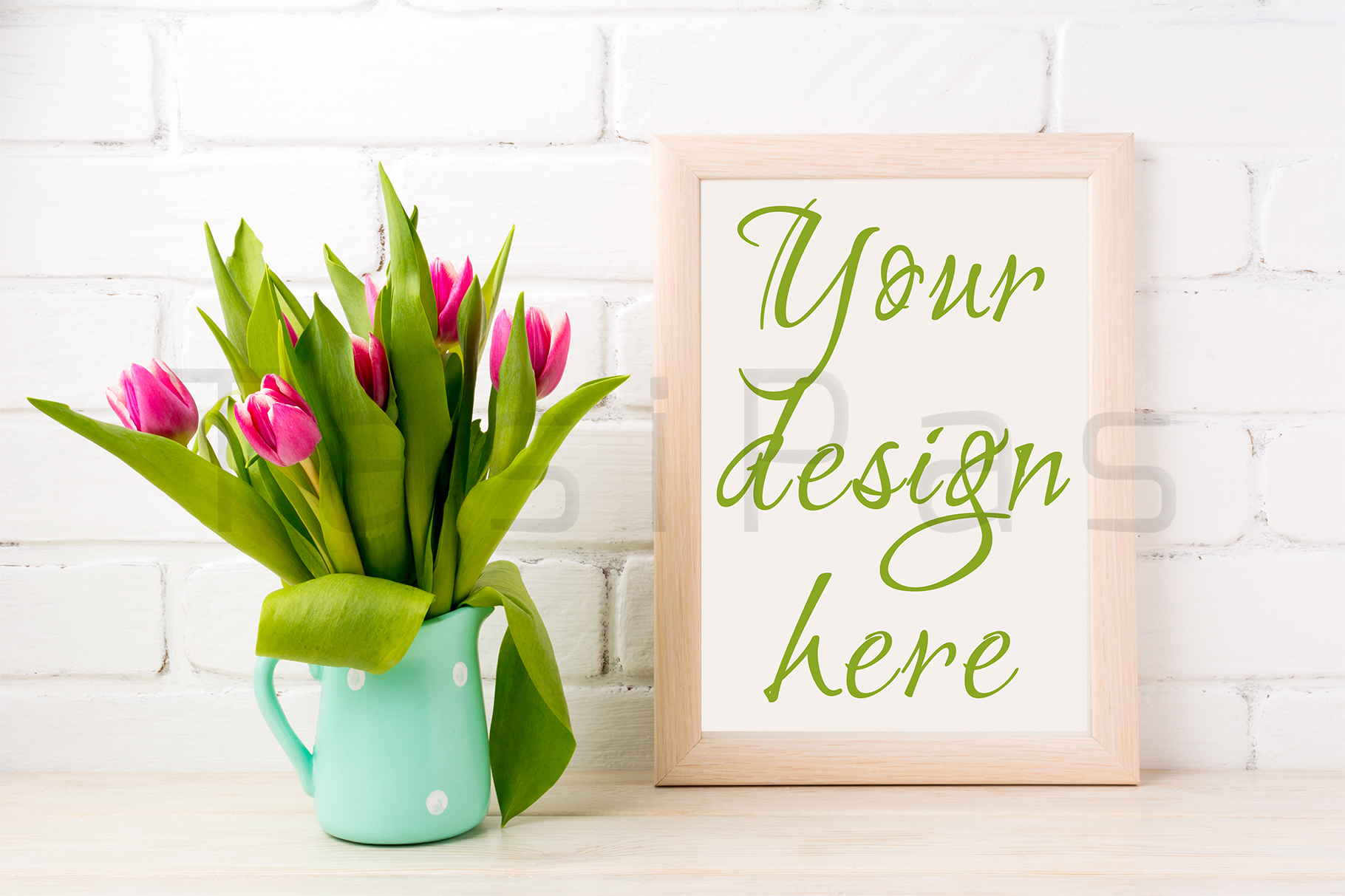 Wooden frame mockup with bright pink tulips bouquet in mint jug near white painted brick wall.  example image 2