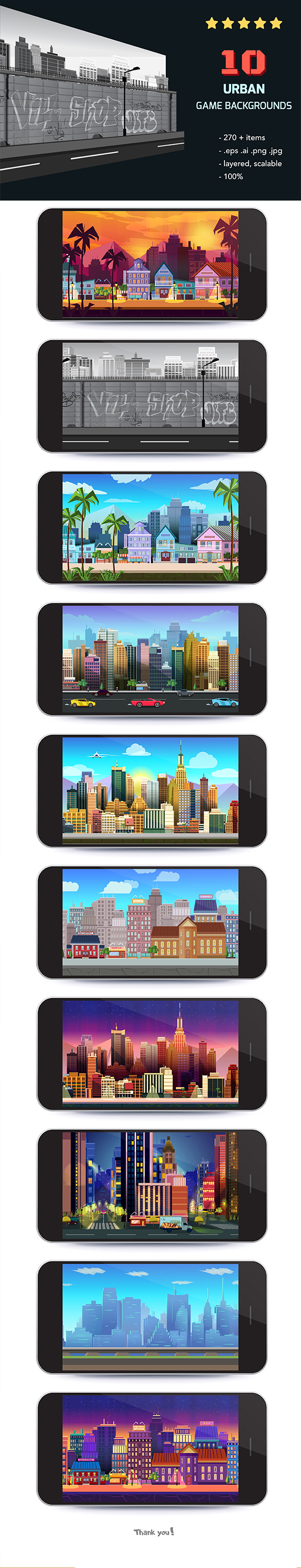10 Urban Game Backgrounds example image 2