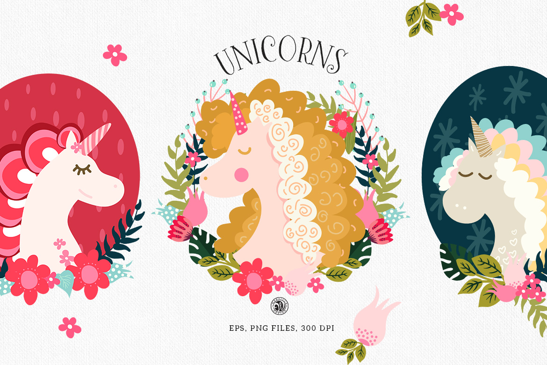 Unicorns - illustrations and patterns example image 1