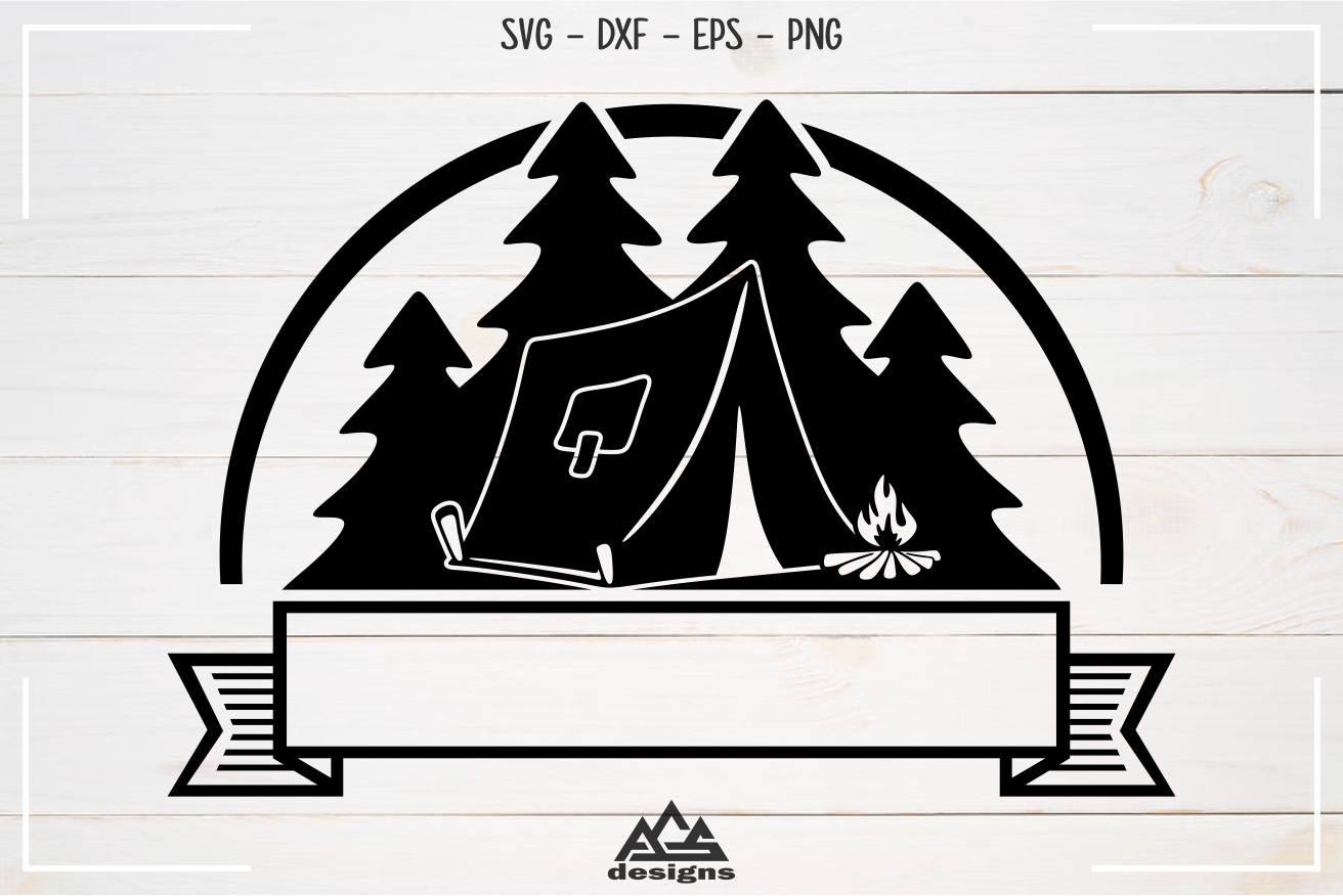 Camp Camping Ribbon Svg Design example image 2