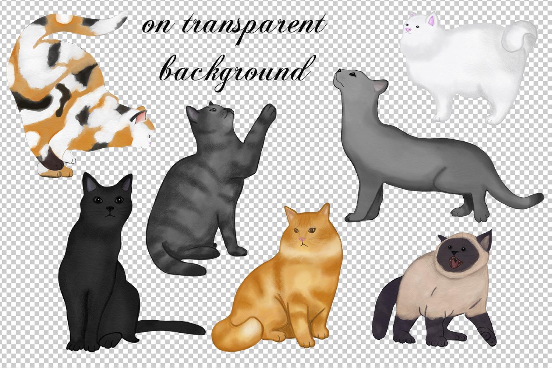 7 cats . watercolor set. hand drawn example image 3
