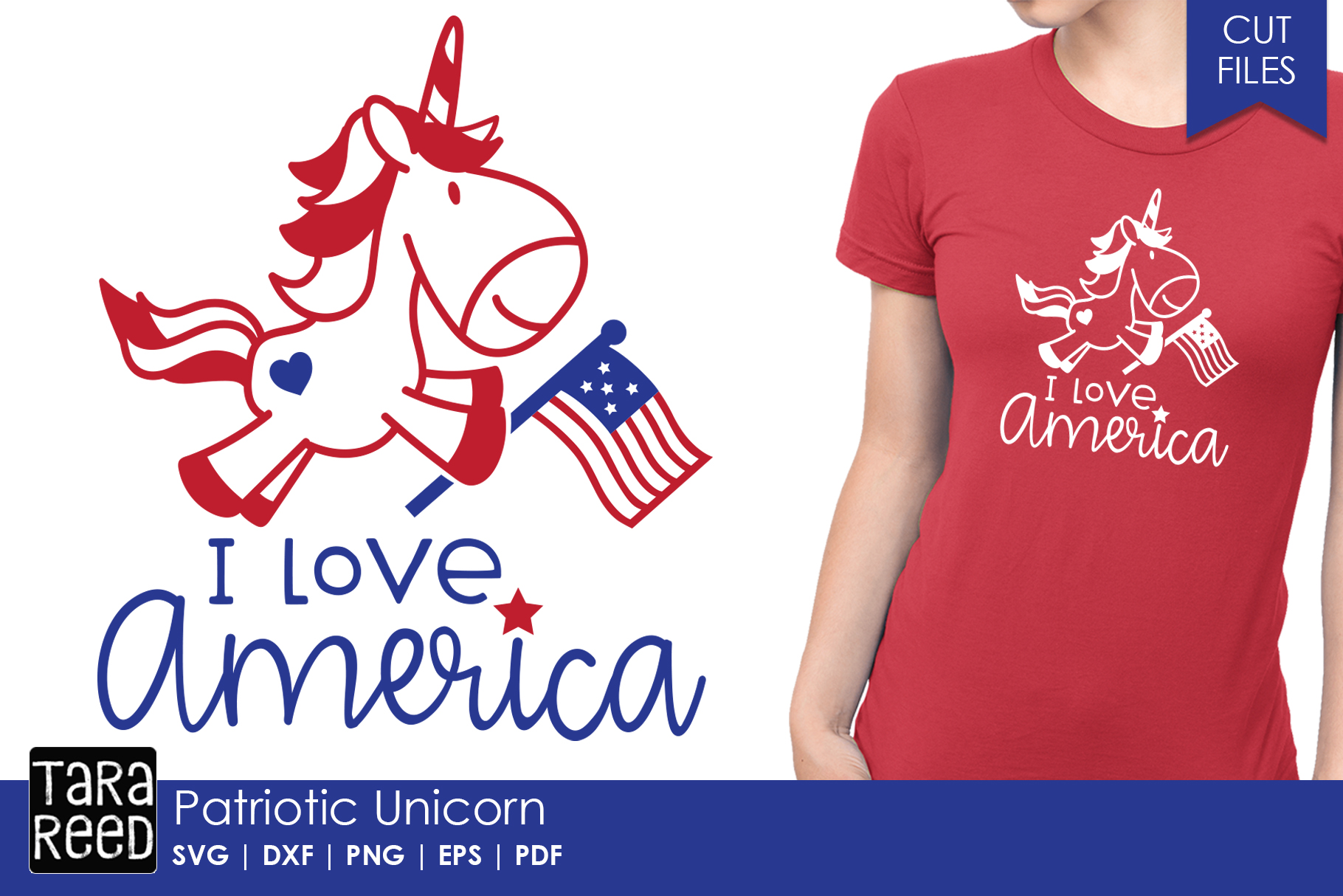 Patriotic Unicorn - 4th of July SVG and Cut Files example image 1