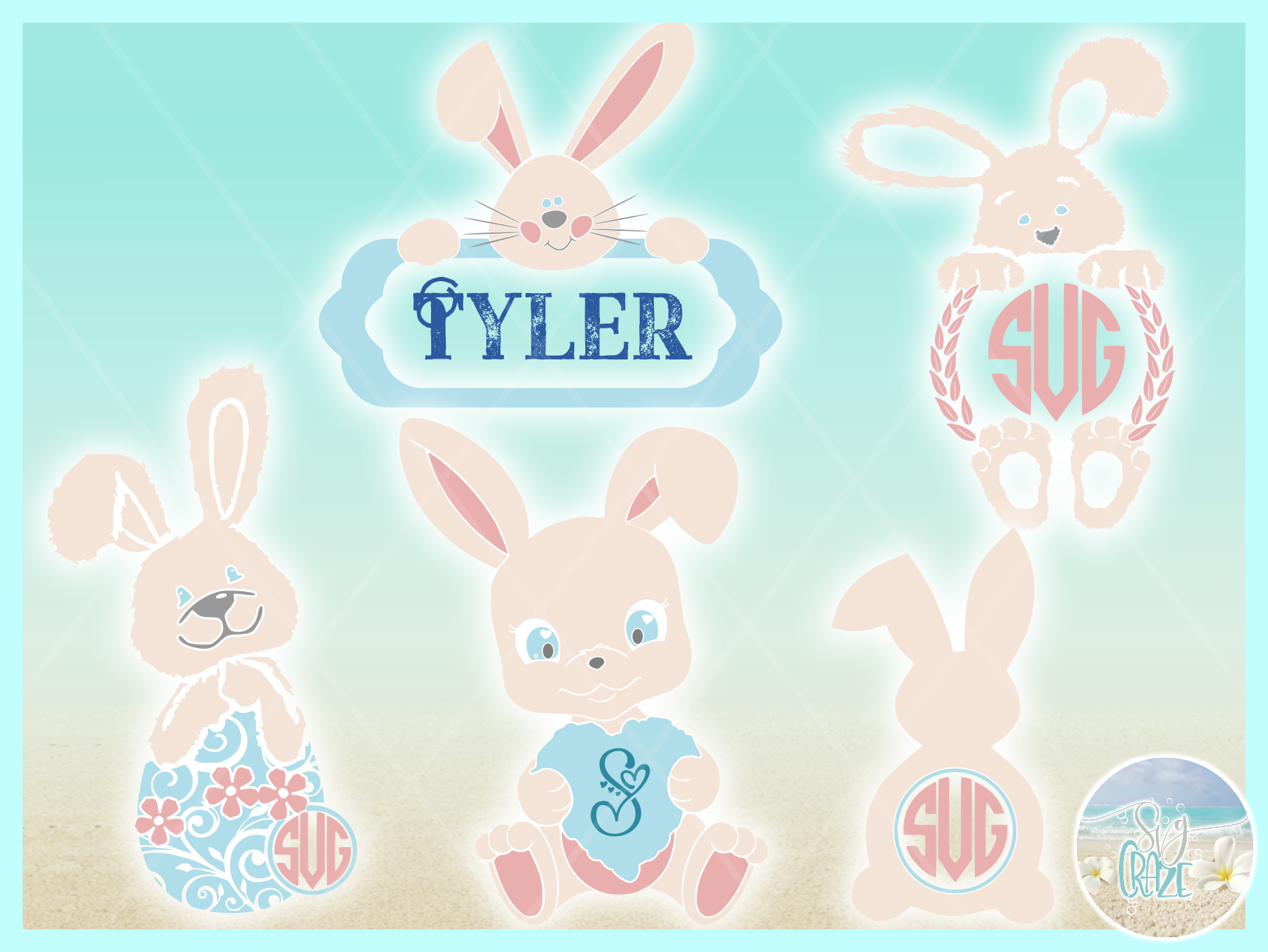 Easter Bunny Monogram Bundle Svg Dxf Eps Png Pdf Files example image 3