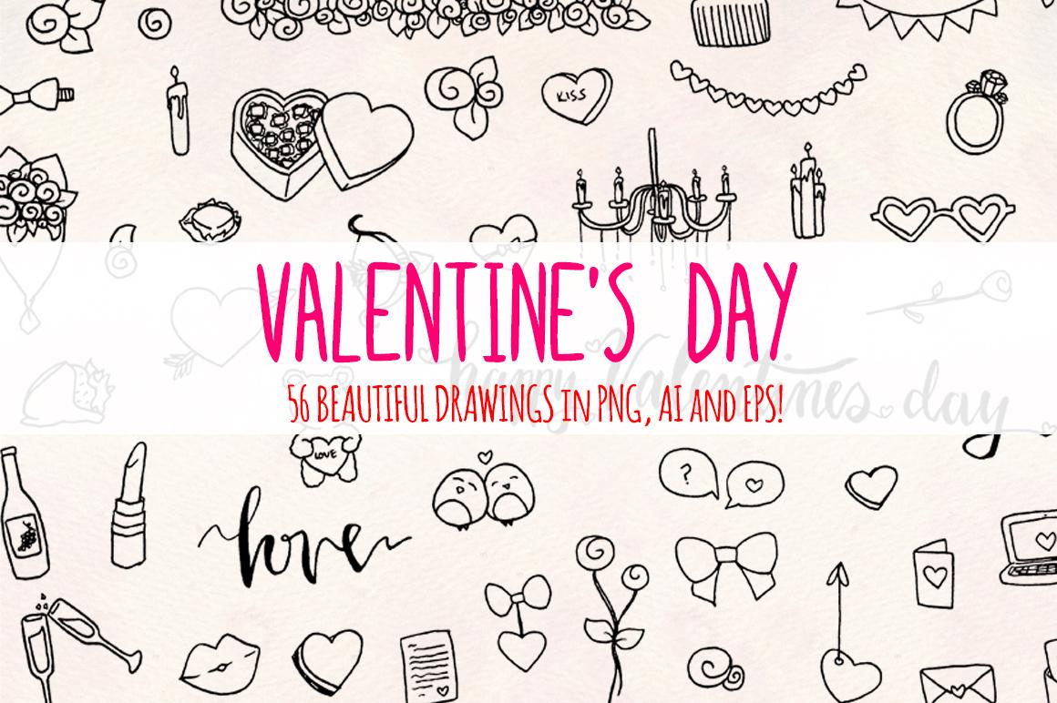 Valentine's Day 56 Romantic Sketch Graphics example image 2