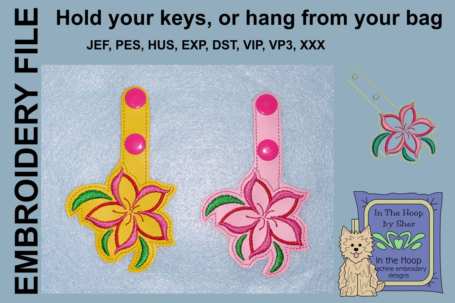 ITH Swirly Flower Vinyl Key Fob or Bag Tag - Snap Tab example image 2