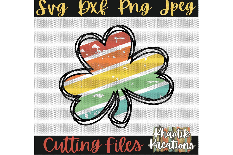 Clover Svg, Rainbow Svg, Distressed Shamrock Svg, St Patrick example image 2