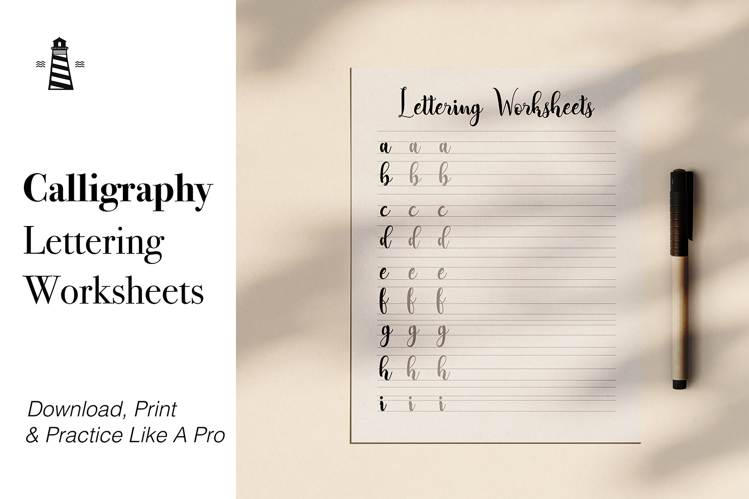 Calligraphy Lettering Practice Sheet example image 1