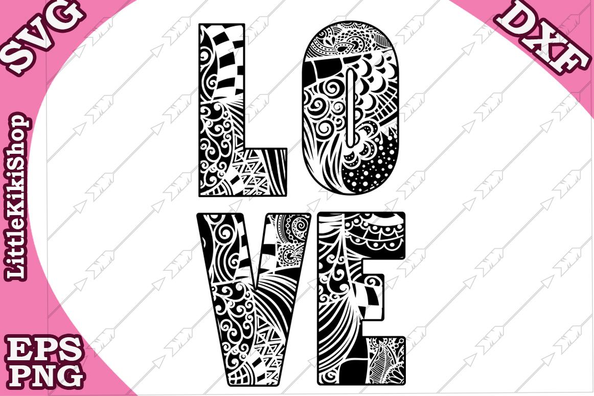 Love Svg,Love Cut Files,Mandala Love,Zentangle Love,Love Svg example image 2
