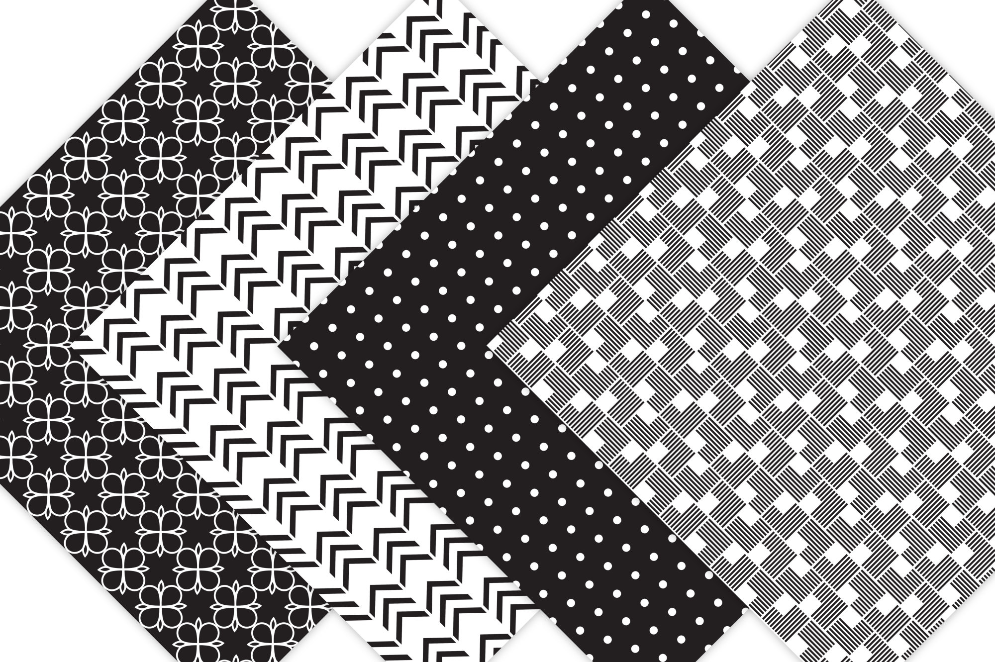 Black and White Digital Paper  example image 4