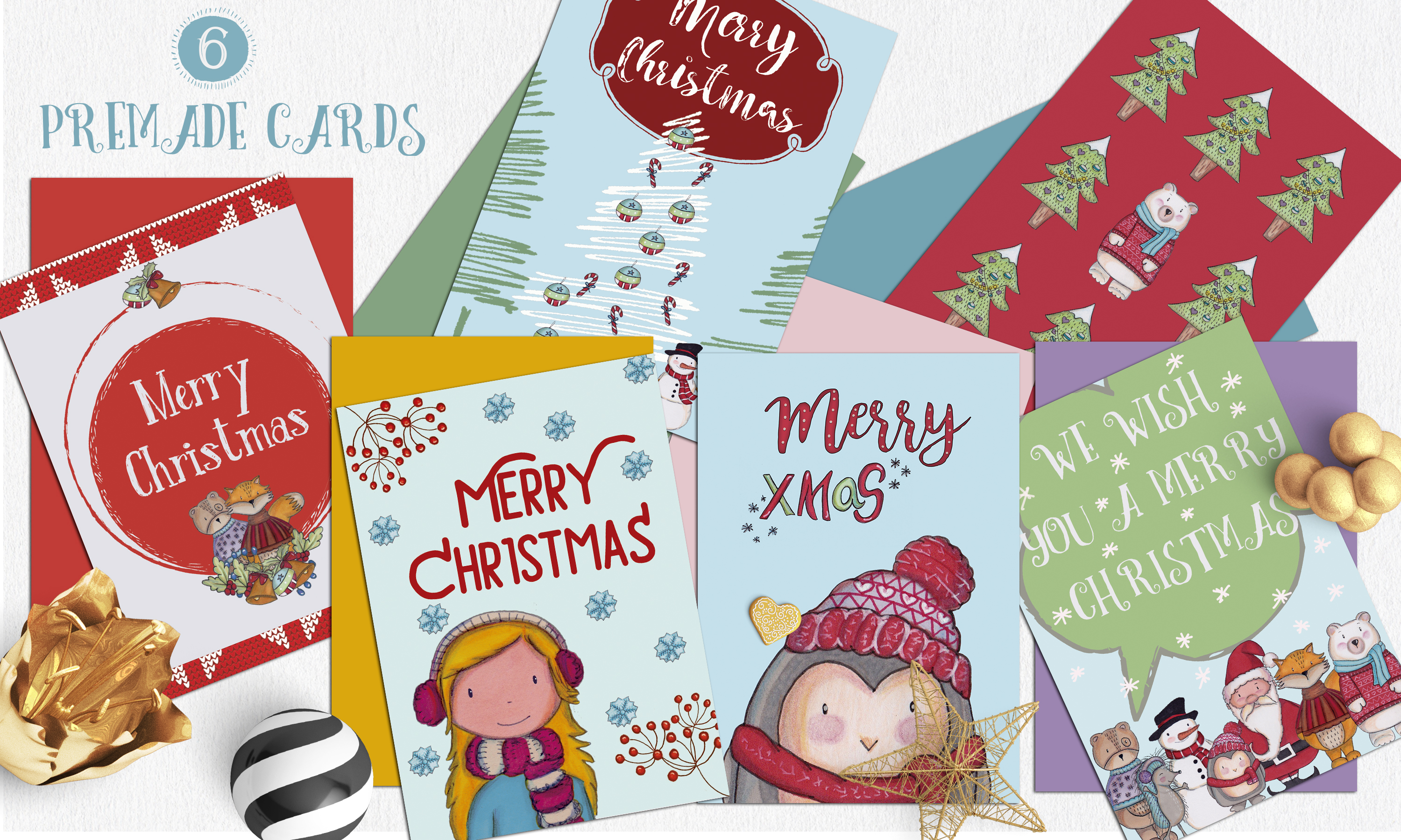 A Christmas cute illustrations set example image 4