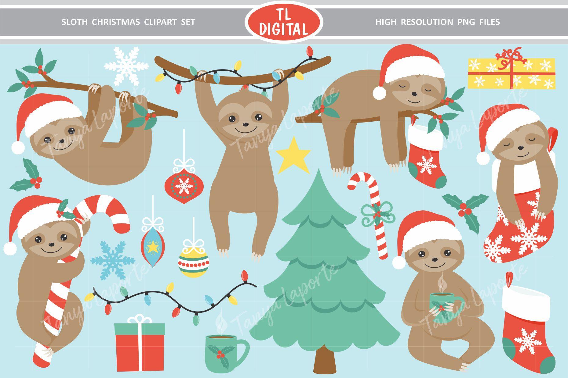 Sloth Christmas Clipart Set - 21 Christmas Graphics example image 1