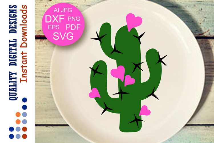 Cactus and Hearts clipart Valentines day example image 1