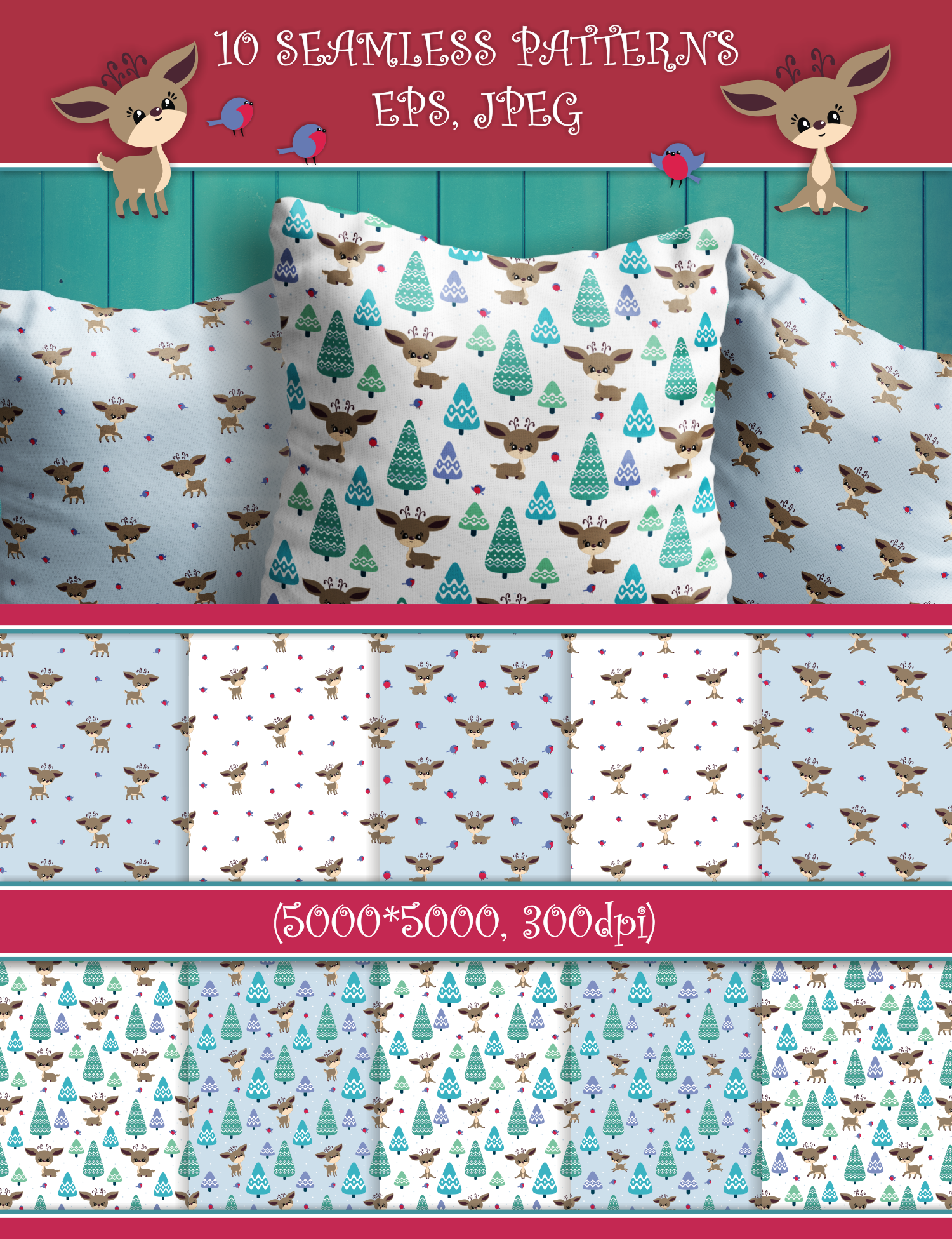 Cute Christmas Deer. Seamless patterns example image 3