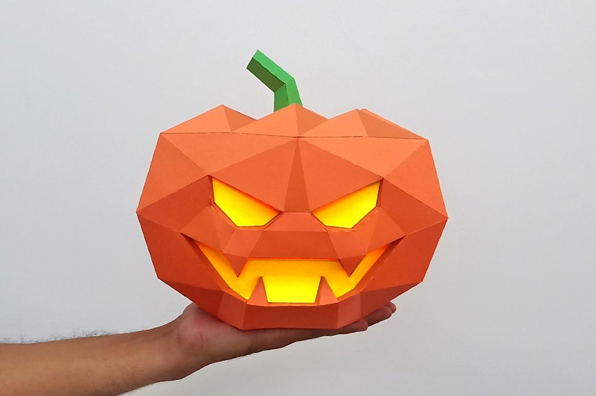 DIY Halloween Pumpkin lamp - 3d papercraft example image 1