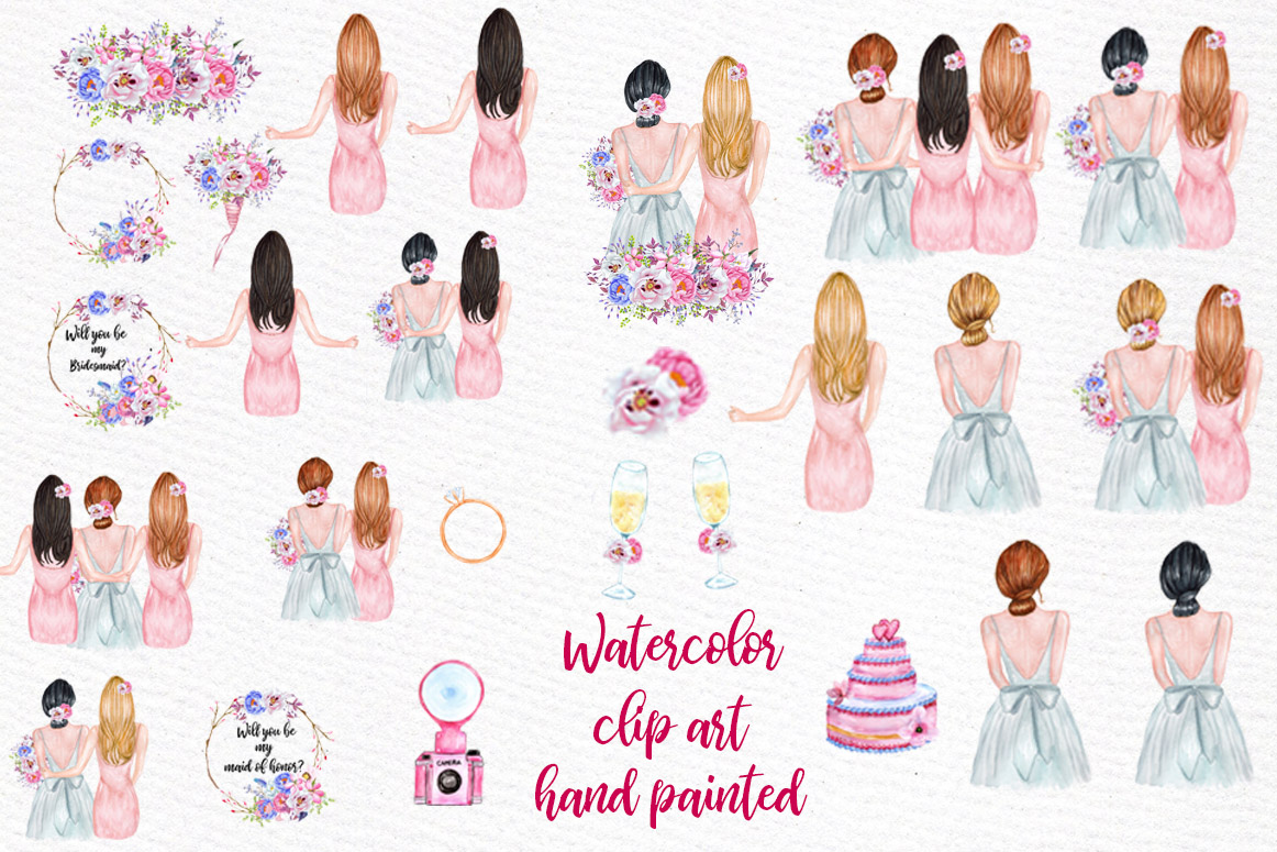 Bridesmaid Best friends clipart, Soul Sisters clipart Custom example image 5