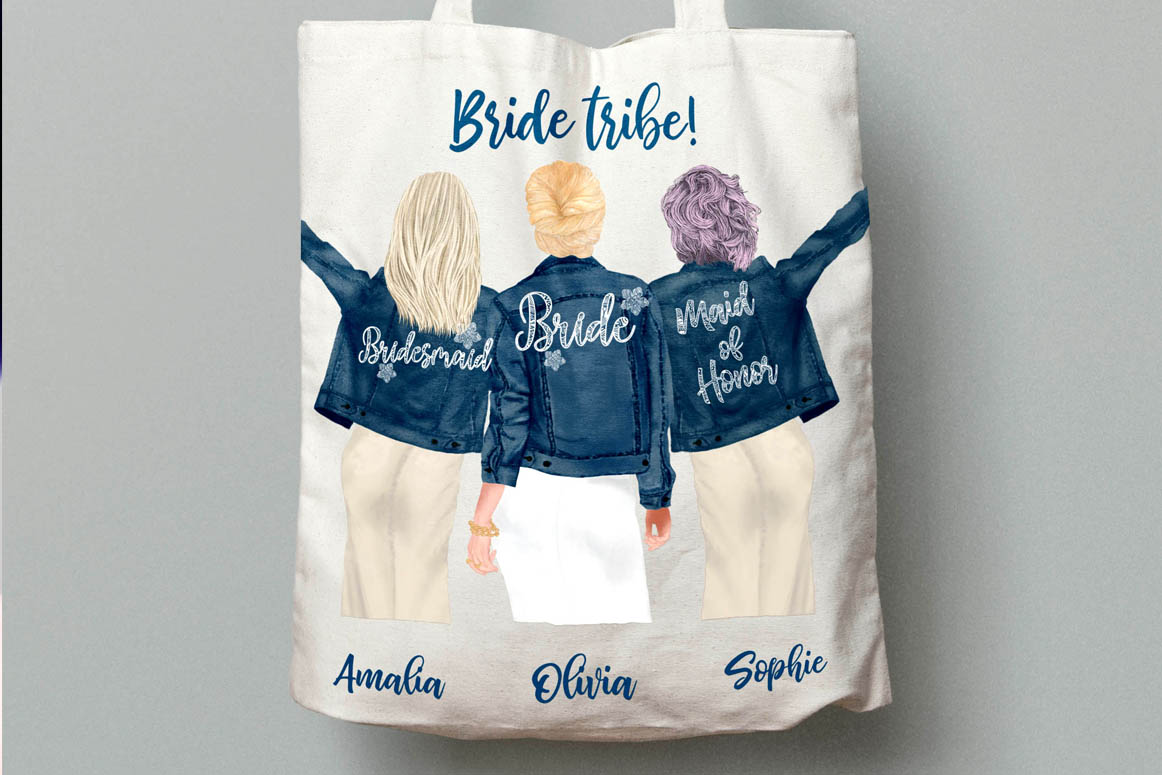 Wedding clipart,Bridesmaid clipart, Bride in Jackets clipart example image 5