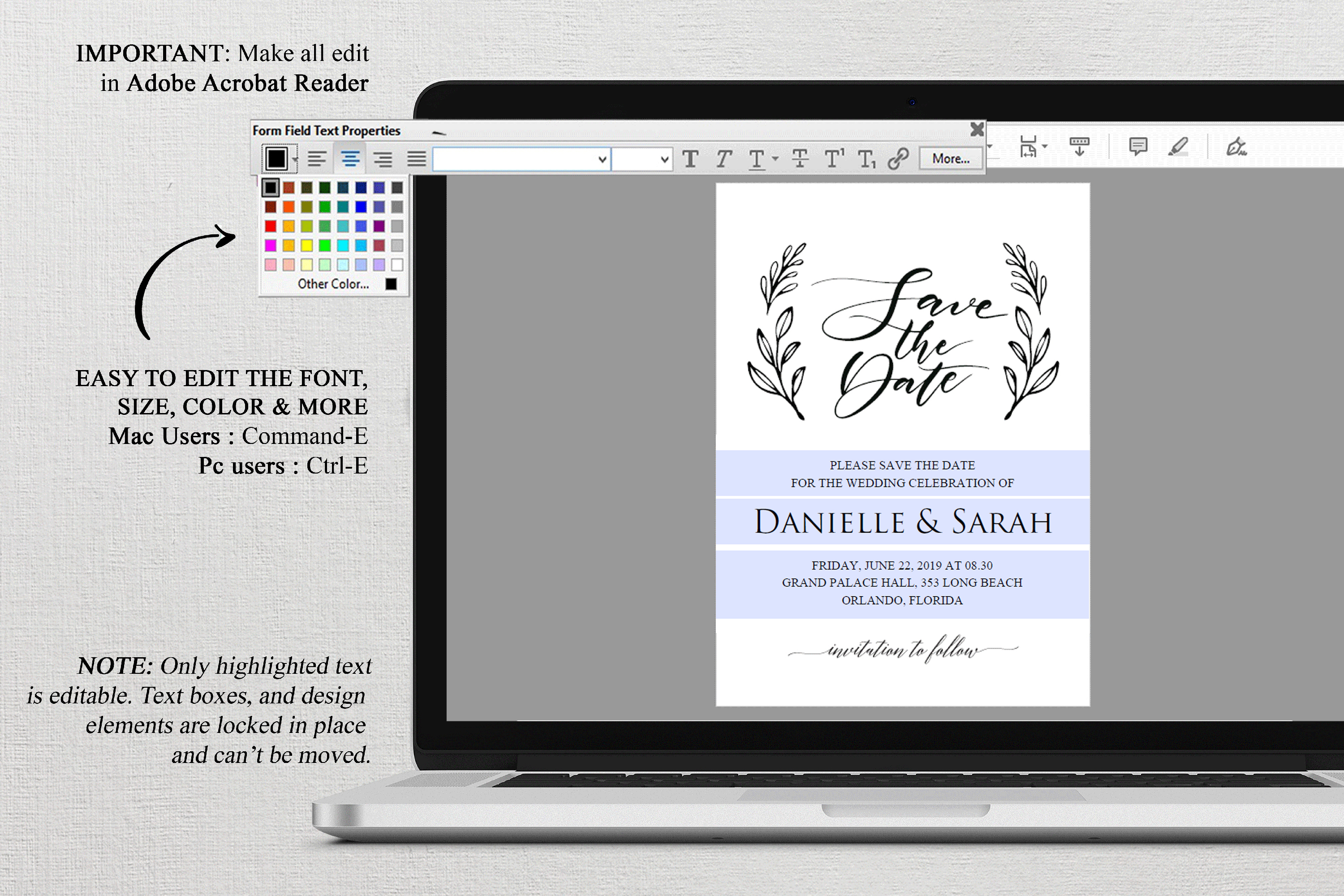 Save the Date Invitation, Save the Date Template example image 3