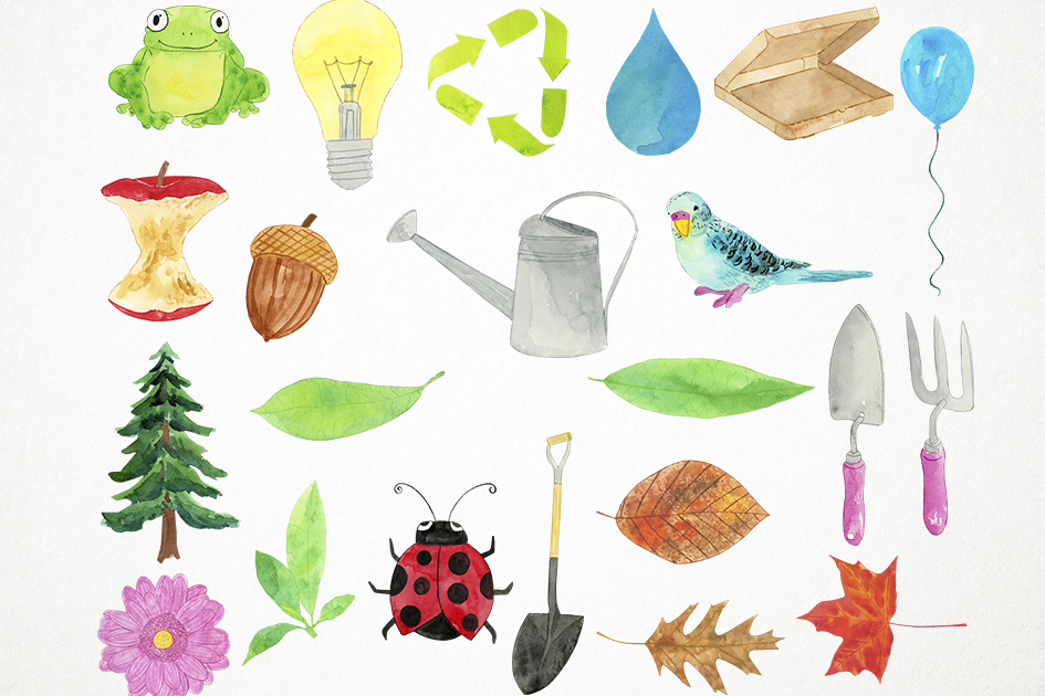 Watercolor Earth Day Clipart, Recycling Clipart, Ecology example image 2