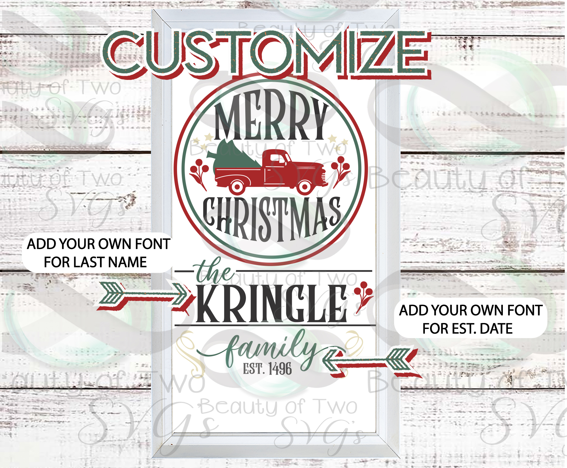 Customize Merry Christmas Vintage Truck Last Name sign svg example image 2