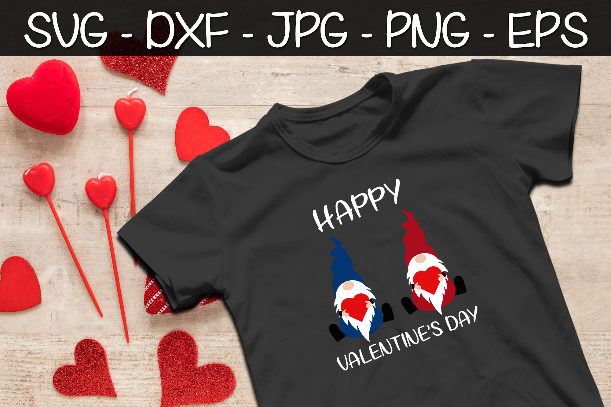 Happy Valentine's Day Gnomes SVG EPS PNG Valentine Gnomes example image 2