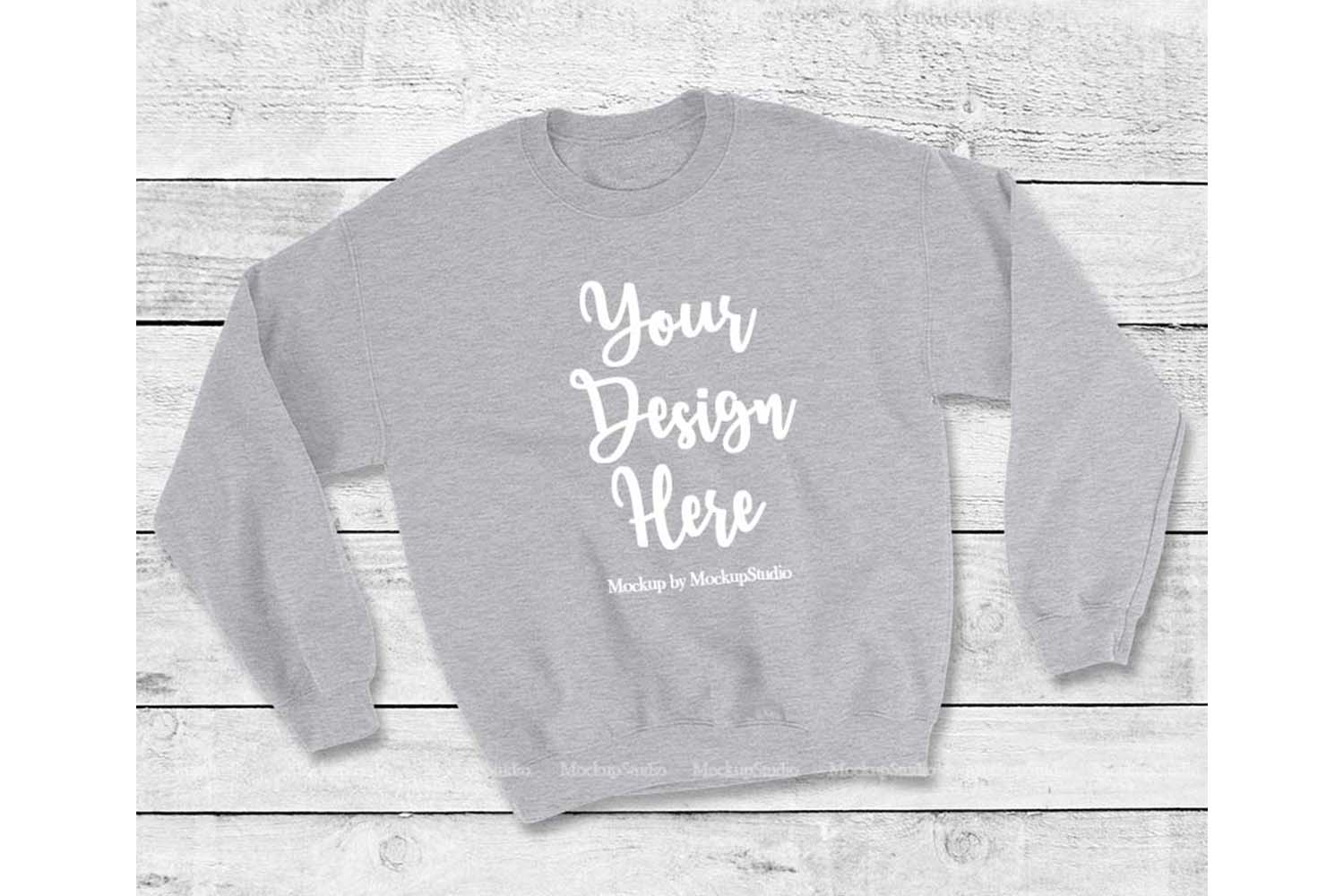 Gray Sweatshirt Mock Up, Unisex Sweatshirt Flat Lay Display example image 1